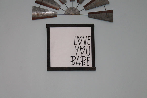 Love You Babe, Boyfriend Girlfriend Gift, Raised Text, 3D, Hearts, Loved One,  Wooden Sign, Wood, Primitive, Shabby Chic, Wall Decor