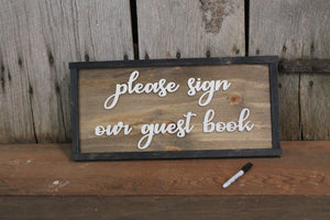 Please Sign Our Guest Book, 3D Raised Text, Extra Large, Framed Wood, Signature Board, Wedding, Sign, Rustic, Primitive, Barn Wood, Country