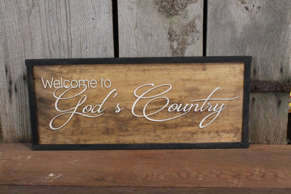 Welcome to God's Country, 3D Raised Text, Large, Framed, Sign, Rustic, Primitive, Barn, Wood, Country