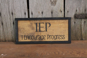 Teacher Appreciation Gift, Intervention Specialist, Special Ed, Teacher, IEP, I Encourage Progress, Gift, 3D, Raised Text, Framed, Wood