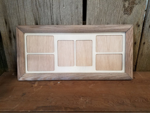 Farmhouse, 4x6, College, Picture Frame, Mat, Mat-board, Wood, Holds 6, Weathered Oak, Handmade, Country, Rustic, Primitive, Multiple