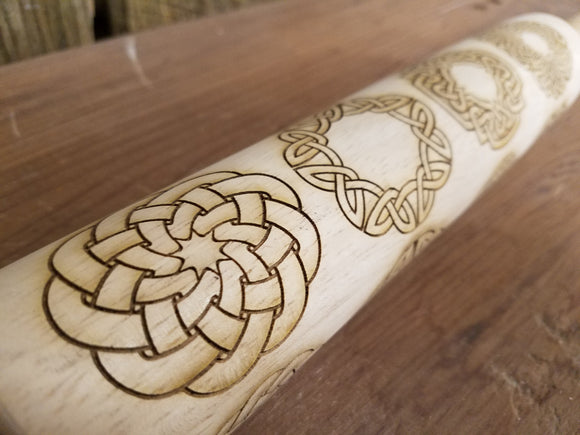Celtic Knot, Tribal, Knot Work, Geometric, Irish, 10 Inch Rolling Pin, Pie Crust, Gift, Embossed, Engraved, Wood, Cookie Stamp, Laser