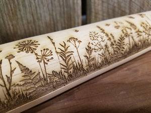 Wild Flower, Floral, Garden, Butterflies, Frame, 10 Inch Rolling Pin, Pie Crust, Gift, Embossed, Engraved, Wood, Cookie Stamp, Laser
