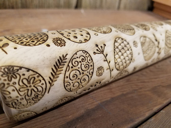 Easter, Easter Eggs, Decorated, Spring, 10 Inch Rolling Pin, Pie Crust, Gift, Embossed, Engraved, Wood, Cookie Stamp, Laser