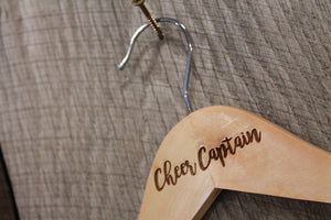 Cheer Captain Cheer Leading Cheer Leader Costume  Uniform Clothes Hanger Engraved Hard Wood Sturdy Team Leadership