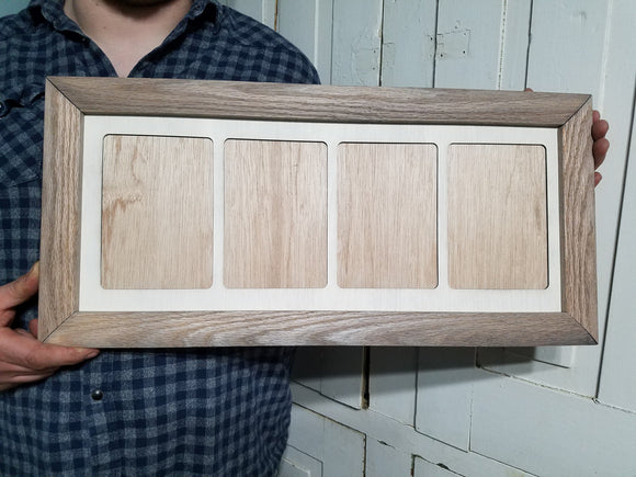 Farmhouse 5x7  Picture Frame and Mat Wood  Holds 4 Weathered Oak Handmade Country Rustic