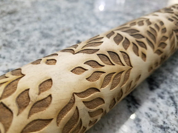 Leaf, Leaves, Floral Pattern, Geometric, 10 Inch Rolling Pin, Pie Crust, Gift, Embossed, Engraved, Wood, Cookie Stamp, Laser, Wooden