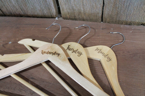 Days of the Week  Set of 7 Engraved Wooden Clothes Hangers Sturdy Monday through Sunday Wood Custom