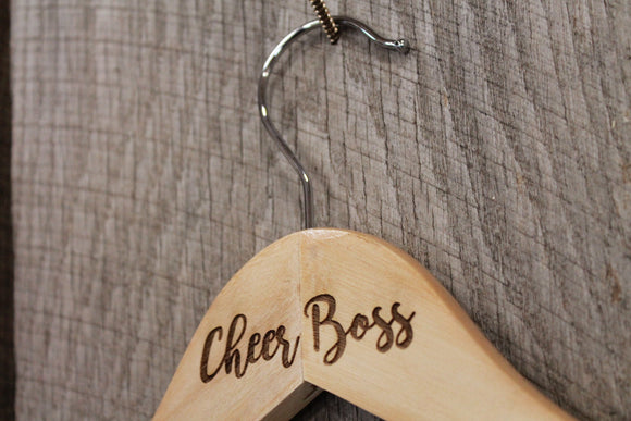 Cheer Boss Cheer Leading Cheer Leader Costume  Uniform Clothes Hanger Engraved Hard Wood Sturdy
