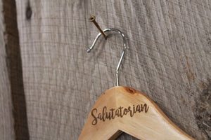 Salutatorian Gown Dress Suit Clothes Hanger Engraved Hard Wood Sturdy Ceremony Celebration Gift