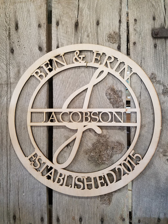 Anniversary Personalized, Gift, Last Name, Hoop Wreath, Couples Name, Wedding Date, Wreath, Sign, Large, Wedding, Wood, Custom, Laser Cut