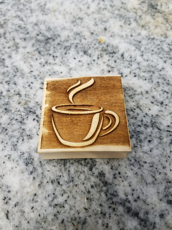 Coffee Cup, Stamp, Press, Pottery, Clay, Fondant, Soap, Embossed, Wood, Laser Engraved, Craft Making, DIY, 2 Inch