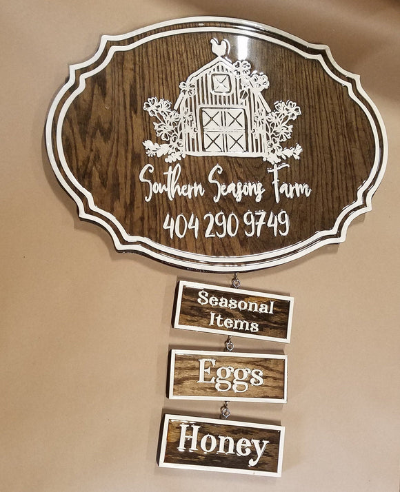 Farm Market Sign, Seasonal Store, Hanging Options, Eggs, Honey, Business Sign, Oval, Raised Text, Custom, Small Business Laser Cut, Wood