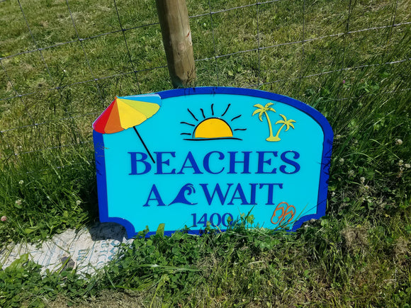 Beach House, Lake House, Pool, Fun in the Sun, Colorful, Large Custom Sign, Address Sign, Welcome Sign, Wood, Laser Cut Out, 3D