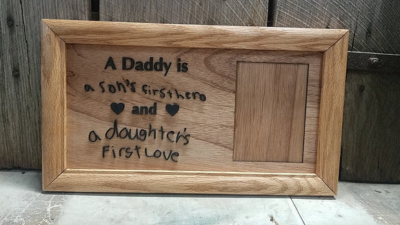 Handwriting Sign, Your Writing, Daddy, Hero, Custom Phrase, Saying, College, Picture Frame, Mat, Wood, Weathered Oak, Handmade, Rustic