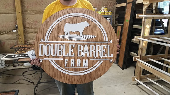 large wood custom farm sign round ranch signage indoor outdoor can be hanging