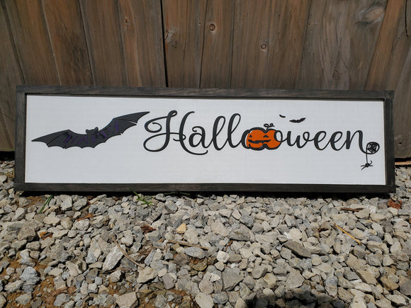 Happy Halloween Sign, Bat, Pumpkin, Spider,  Decor, Wall, Wood, 3D, Handmade, Laser Cut, Primitive, Rustic, Raised Graphic Decoration