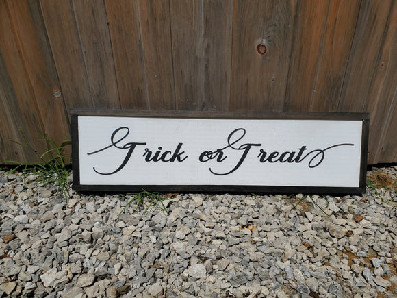 Trick or Treat, Halloween Sign, Script,  Decor, Wall, Wood, 3D, Handmade, Laser Cut, Primitive, Rustic, Raised, Graphic, Decoration