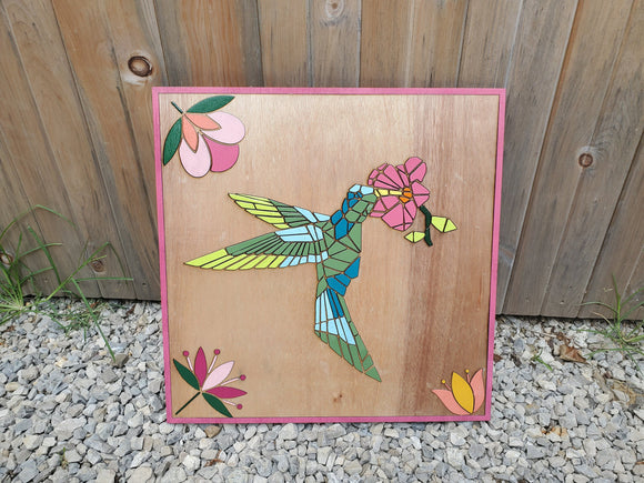 Hummingbird, Bird, Barn Quilt, Tulip, Flower, Floral, Wood, Barn Decor, Vintage, Rustic, Mosaic, Handmade, Primitive, Laser Cut Out