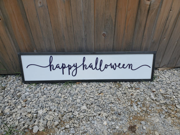 Happy Halloween, Script, Fall, Autumn, Halloween Sign, Decor, Wall, Wood, 3D, Laser Cut, Primitive, Rustic, Raised, Graphic, Decoration