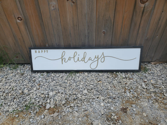 Happy Holidays Sign, Gold, Extra Large, Winter, Christmas, Decor, Wall, Wood, 3D, Laser Cut, Primitive, Rustic, Raised, Graphic, Decoration