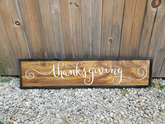 Thanksgiving, Large Custom Thanksgiving Sign, Over-sized Rustic Holiday Sign, Wood, Laser Cut Out, 3D, Extra Large, Sign Footstepsinthepast