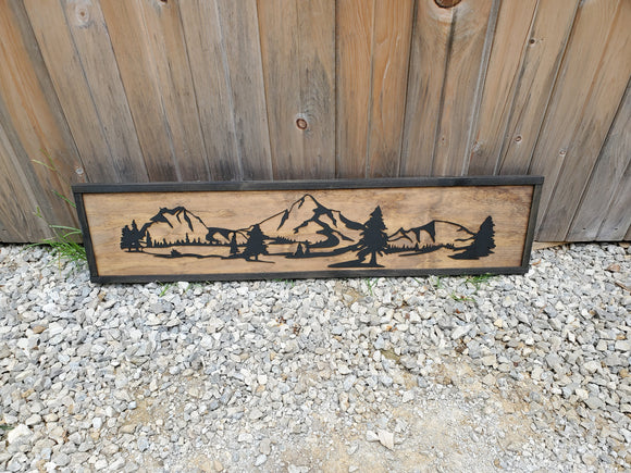 Mountain Scenery, 3D, Raised, Mountain, River, Pine Tree, Over Sized Sign, Rustic, Ranch Over Sized, Wood, Laser Cut, Detail, Cabin