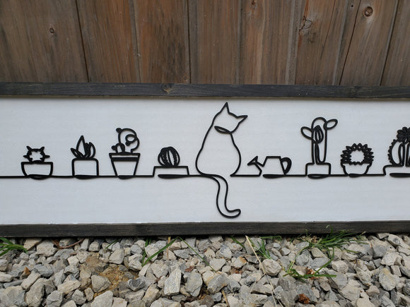 Cat, Cactus, Plants, Kitten, Silhouette, Western, Line Art, 3D, Raised Text Sign, Rustic, Farmhouse, Shabby Chic, Wood, White and Black