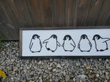 Penguins, Baby, Babies, Nursery, Winter, Silhouette, Line Art, 3D, Raised Text Sign, Rustic, Farmhouse, Shabby Chic, Wood, White and Black