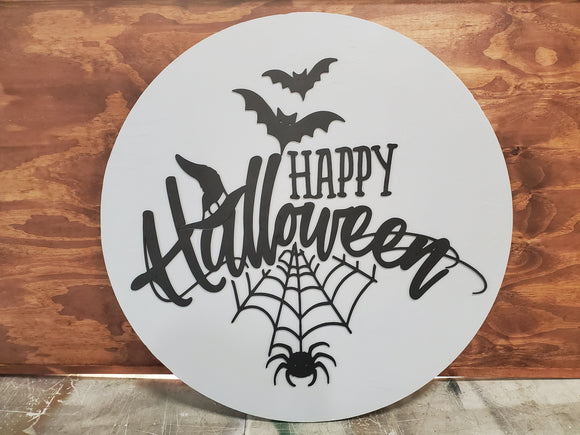 Halloween, Happy Halloween, Spider Web, Bats, Large Circle, Plaque, Round, Gray and Black, Large, 3D, Raised Image, Laser Cut, Sign, Decor