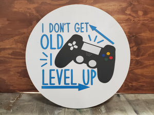 Gamer Gift, Video Game, Level Up, Birthday, Gift, Large Circle, Plaque, Round, Large, 3D, Raised Image, Laser Cut, Sign, Decor