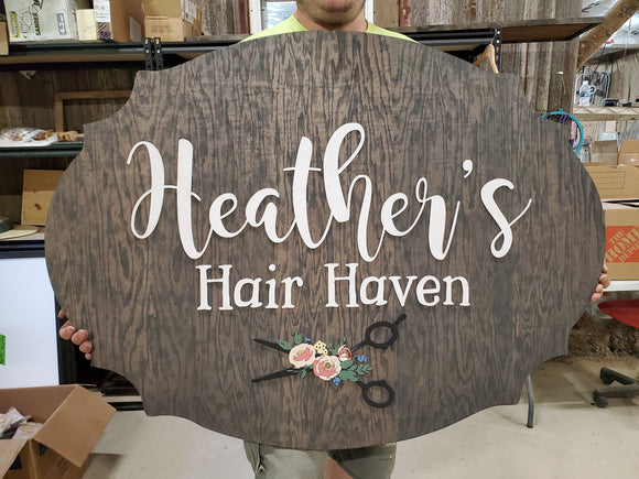 Salon Scissors Flowers Floral Shop Store Hair Dresser Beautician Business Sign Address Established Sign Exterior Outdoor Wooden Wood