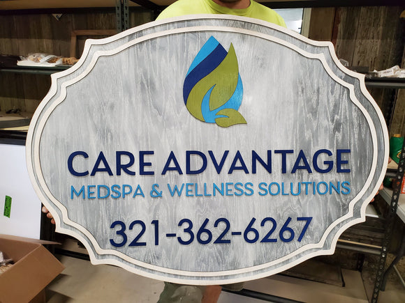 Medspa Spa Wellness Your Logo Custom Business Sign Address Established Sign Exterior Outdoor Wooden Wood Gray Whitewashed