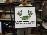 Land Management Real Estate Custom Business Logo Square Over-sized Rustic  Wood Laser Cut Out 3D Extra Large Sign