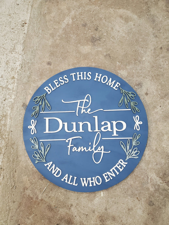 Last Name Family Name Sign Bless this Home House warming Established Circle Plaque Round Large 3D Raised Image Laser Cut