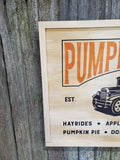 Framed Pumpkin Patch Old Truck Farm Pumpkins Vintage Fall Rustic Photo on Wood  Printed Large Wood Print Wood Photo Home Decor USA