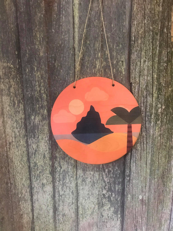Round Scenic Wood Island Volcano Beach Palm Tree Sunset Orange Nursery Wall Hanger Decor Plaque Wall Art Color Wood Print