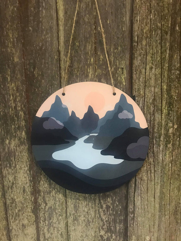 Outdoor Mountain Scenery Sign River Sun Decor Cabin Wall Hanger Nursery Decor Plaque Wall Art Color Wood Print