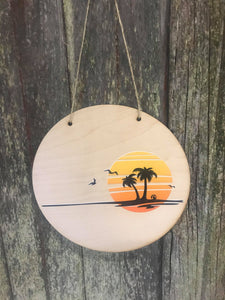 Island Sign Round Scenic Silhouette Beach Ocean Water Wood Sunshine Sky Wall Hanger Nursery Decor Plaque Wall Art Color Wood Print