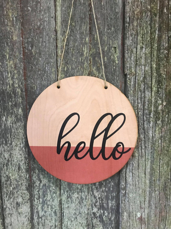 Hello Wall Hanger Wood Door Hanger Round Front Door Entry Way Decor Plaque Wall Art Wood Print Script
