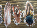 Boho Feathers Wall Sign Colorful Wood Plaque Decor Wall Art Color Wood Print