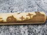 Halloween, Pumpkin, Jack-o-lantern, Cemetery, Grave Yard, Rolling Pin, Texture, Embossed, Engraved, Wooden, Cookie Stamp, Laser, Pottery