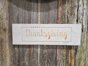 Happy Thanksgiving Wall Decor Thanksgiving Sign Stained Wood Print Color Fall Decor Text Script Housewarming