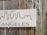 Los Angeles Skyline Sign Silhouette Sign Town Gift Wood Printed Shelf Sitter Block Wall Art Decor Hanger Home Gift