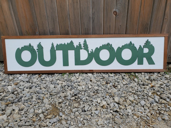 Outdoor, Adventure, Trees, Forest, Large Custom Ranch, Sign, Over-sized Rustic, Wood, Laser Cut Out, 3D, Extra Large