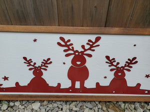 Christmas Scenery, Sign, Reindeer, Deer, Tree, Winter, Star, Red, Presents, Large Holiday Decor, Over Sized, 3D Cut outs