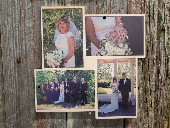 Diamond Collage Wedding Wood Square Custom Photo Square Wall Hanging Photo Picture Family Photos Printed Personalized Gift Home Decor USA