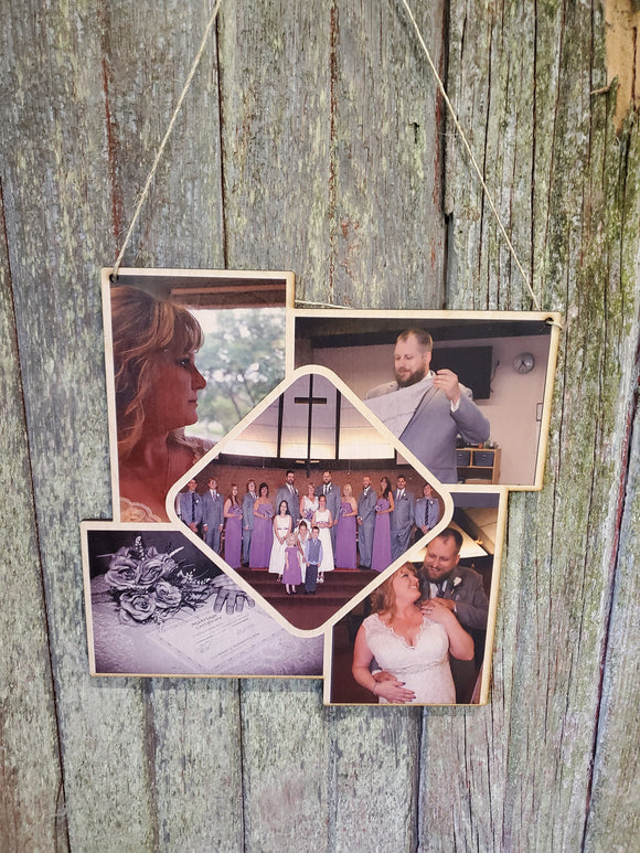 Collage Wedding Holds 5 Photos Wood Square Custom Photo Wall Hanging Photo Picture Family Photos Printed Personalized Gift Home Decor USA