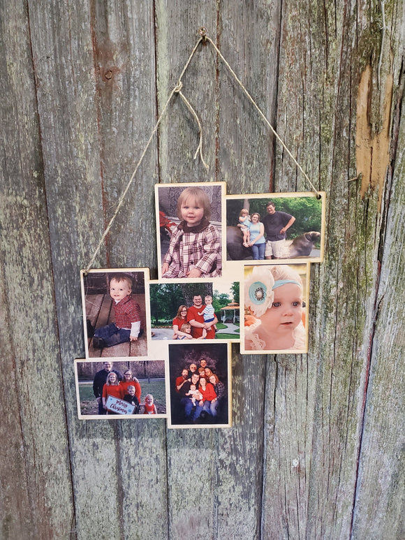 Collage Holds 7 Photos Wood Family Vacation Wedding Custom Photo Wall Hanging Photo Photos Printed Personalized Gift Home Decor USA