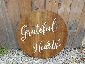 Grateful Hearts, Thanksgiving, Grateful,Script, Large Circle, Plaque, Round, Rustic, Large, 3D, Raised Image, Laser Cut, Sign, Decor